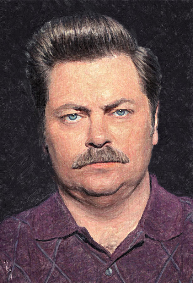 Ron Swanson Painting By Zapista