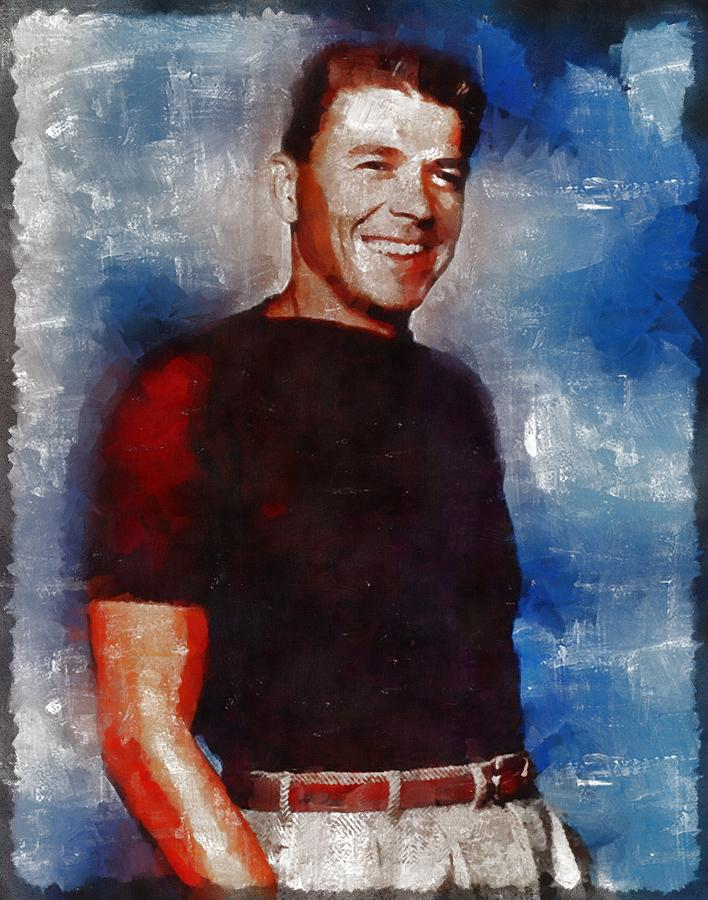 Ronald Reagan Hollywood Actor And President Painting