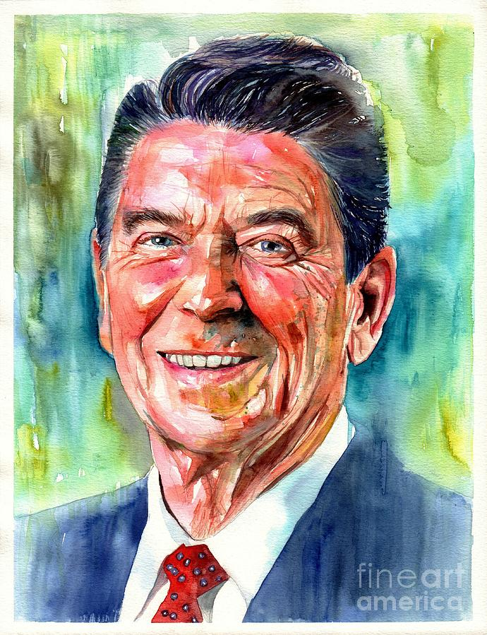 Ronald Painting - Ronald Reagan watercolor by Suzann Sines