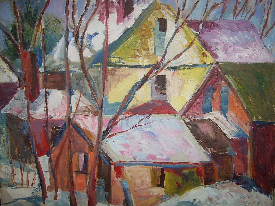 Roof Tops R Painting by Joseph Sandora Jr