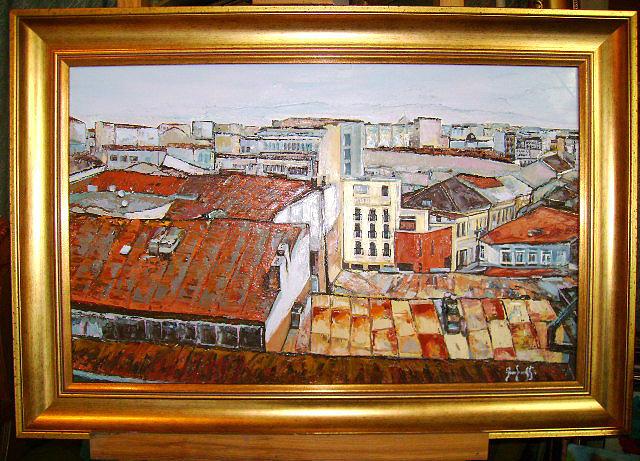 Roofs Bucuresti Historic Centre Painting by Luminita Feodoroff