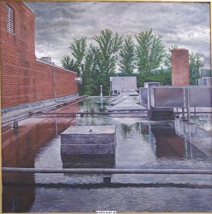 Landscape Painting - Rooftop Lake by James Sparks
