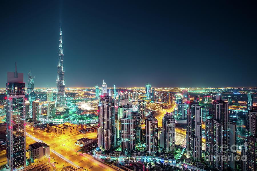Dubai Photograph - Rooftop Perspective Of Downtown Dubai by Dmitrii Telegin