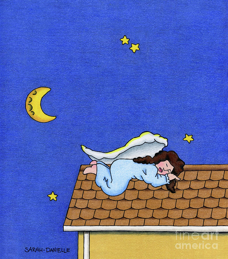Angels Drawing - Rooftop Sleeper by Sarah Batalka