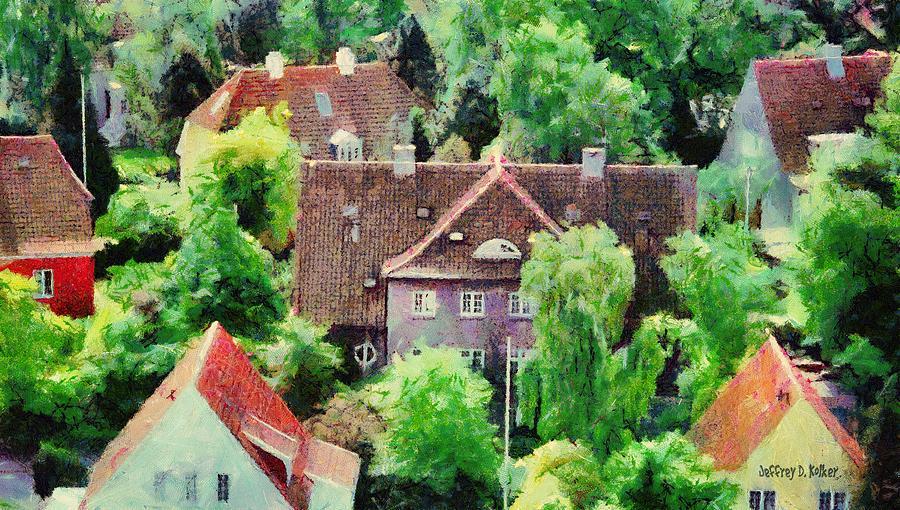 Aarhus Painting - Rooftops by Jeffrey Kolker
