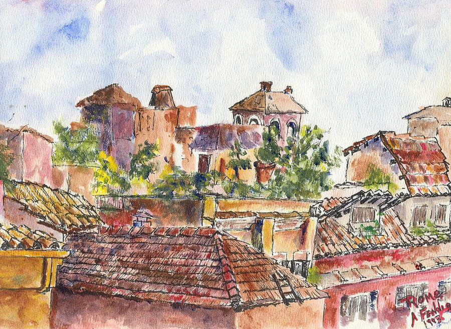 Landscape Painting - Rooftops Of Rome by Albert Fendig