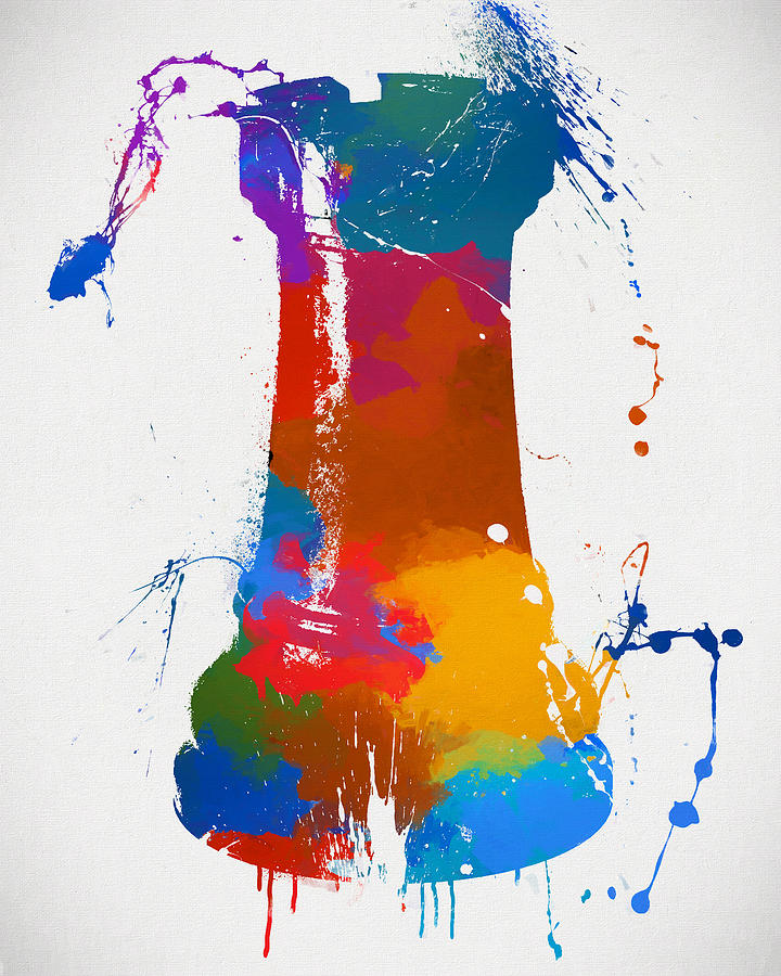 Rook Painting - Rook Chess Piece Paint Splatter by Dan Sproul