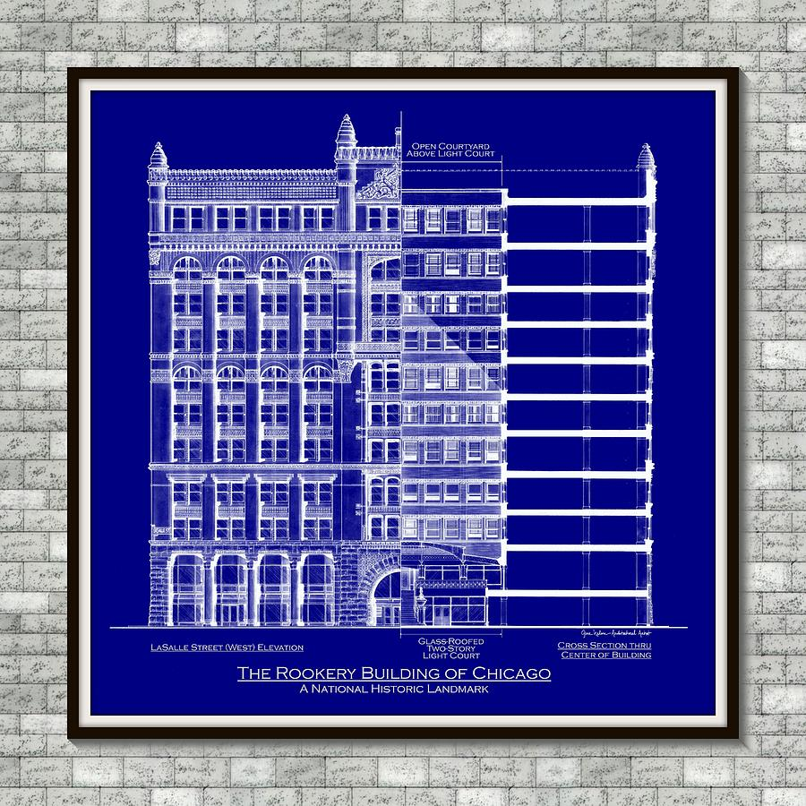 Rookery building blueprint museum matte gray stone mixed media architectural drawing mixed media rookery building blueprint museum matte gray stone by malvernweather Gallery