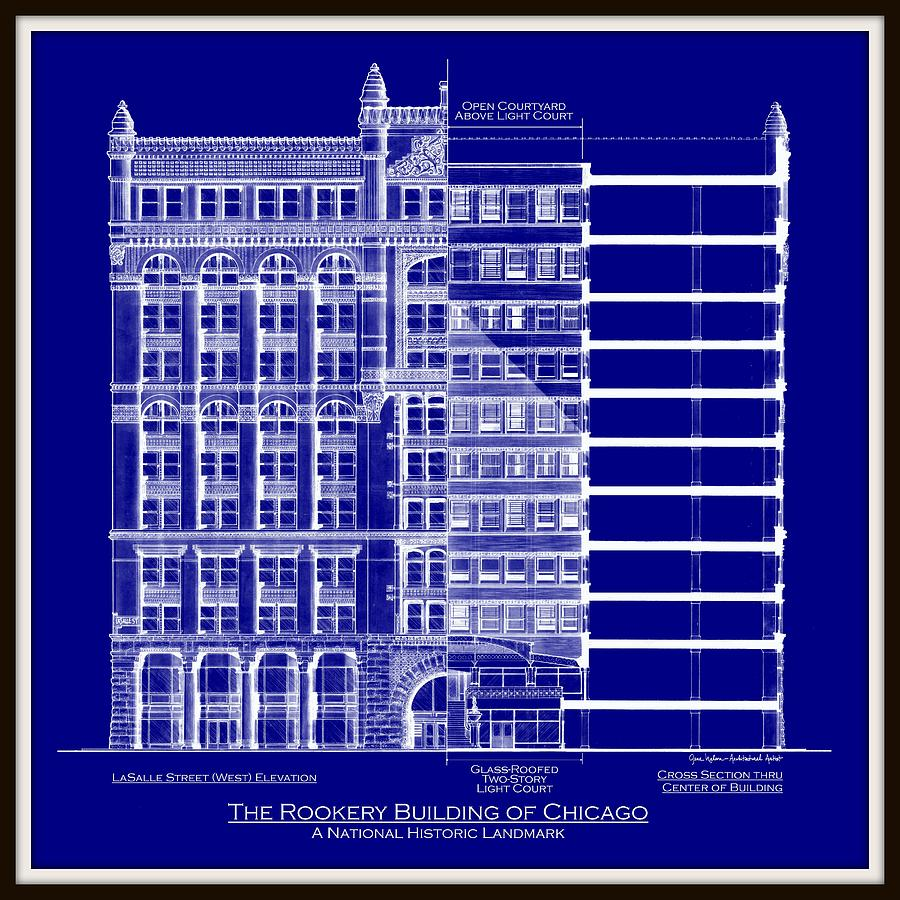 Chicago architecture drawings fine art america chicago architecture drawing rookery building chicago blueprint by gene nelson malvernweather