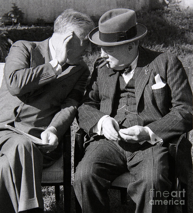 Fdr Photograph - Roosevelt And Churchill Deep In Conversation At The Casablanca Conference, Morocco, January 1943 by English School