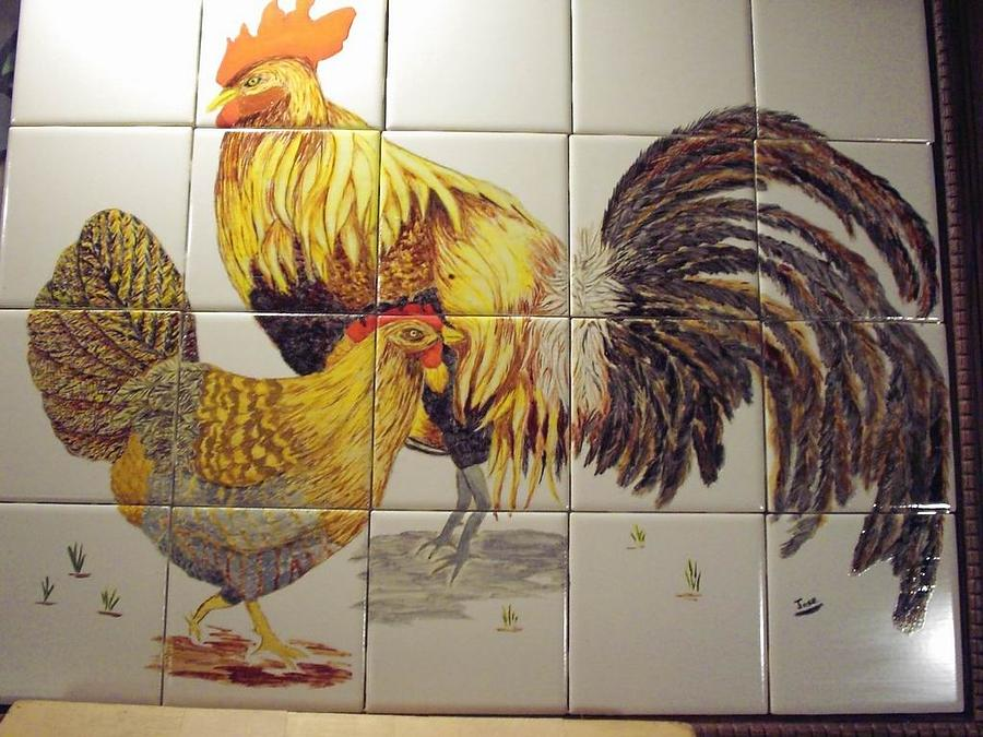 Ceramic Tile Ceramic Art - Rooster And Hen by Hilda and Jose Garrancho