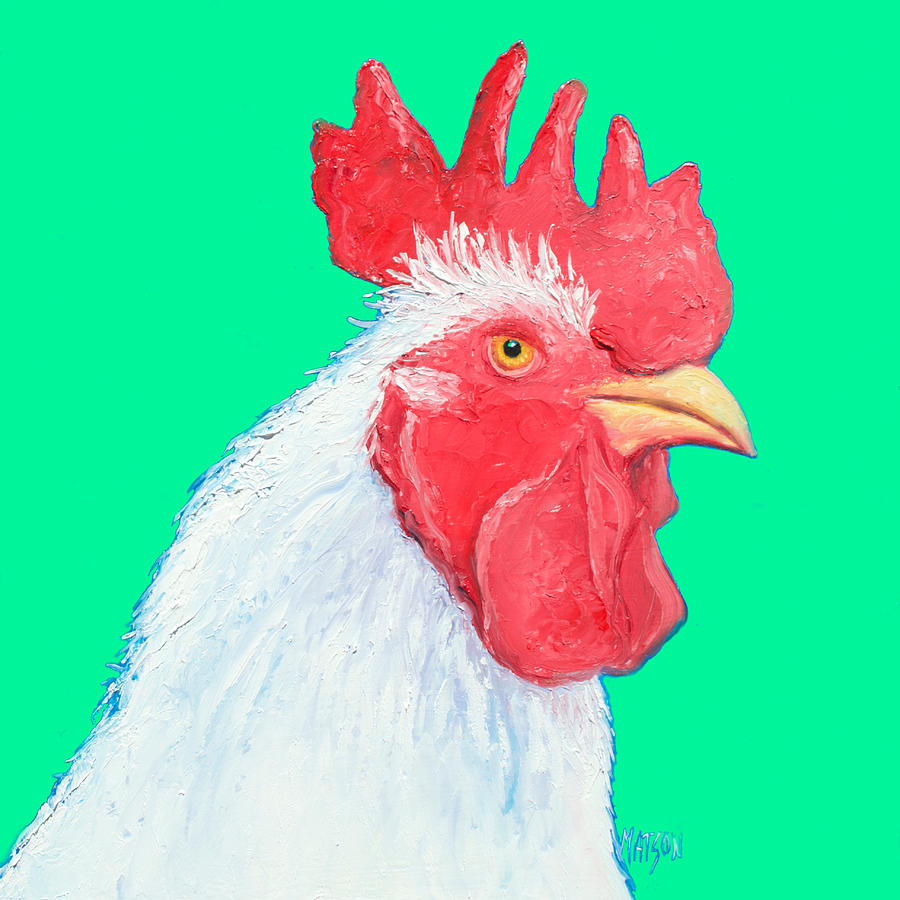 Rooster Art On Green Background Painting