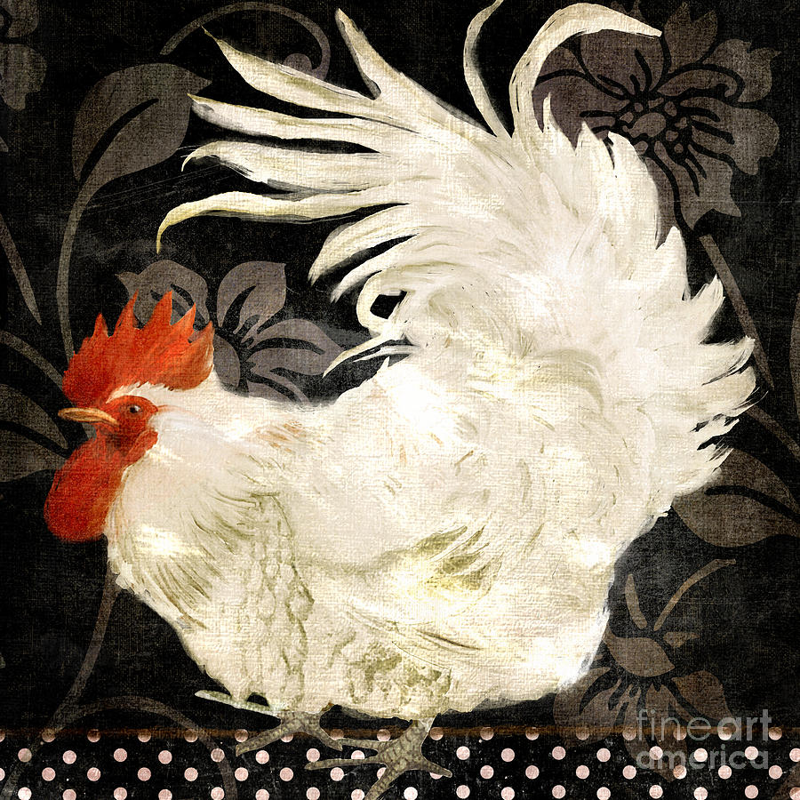 Rooster Damask Dark Painting