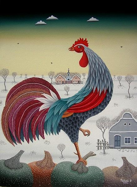 Naive Painting - Rooster by Ferenc Pataki