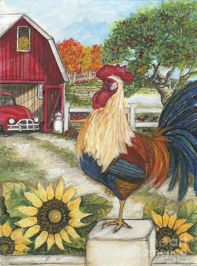 Rooster Painting - Rooster On The Apple Farm by Julie Futch