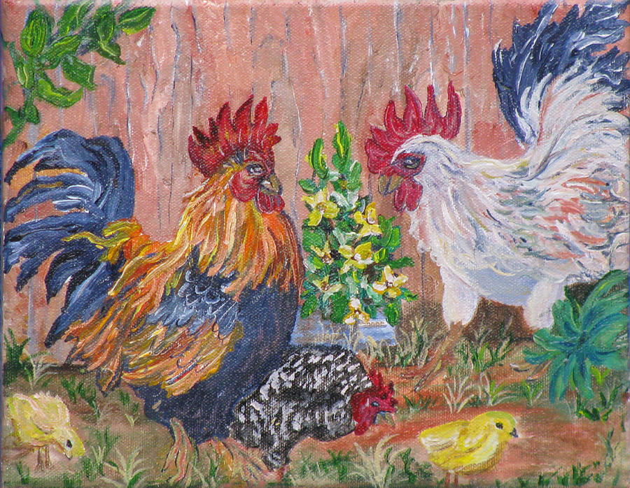 Rooster Painting - Rooster Ranch by Mikki Alhart