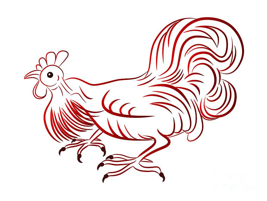 Rooster Digital Art - Rooster - Sign Of Chinese New Year by Michal Boubin
