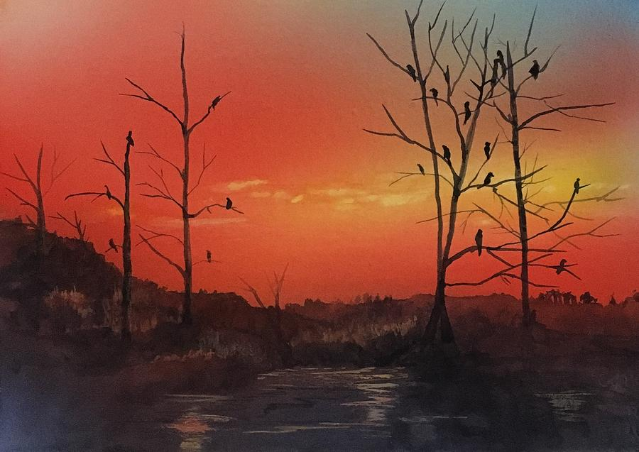 Scenic Painting - Roosting For The Night by Marilyn  Clement