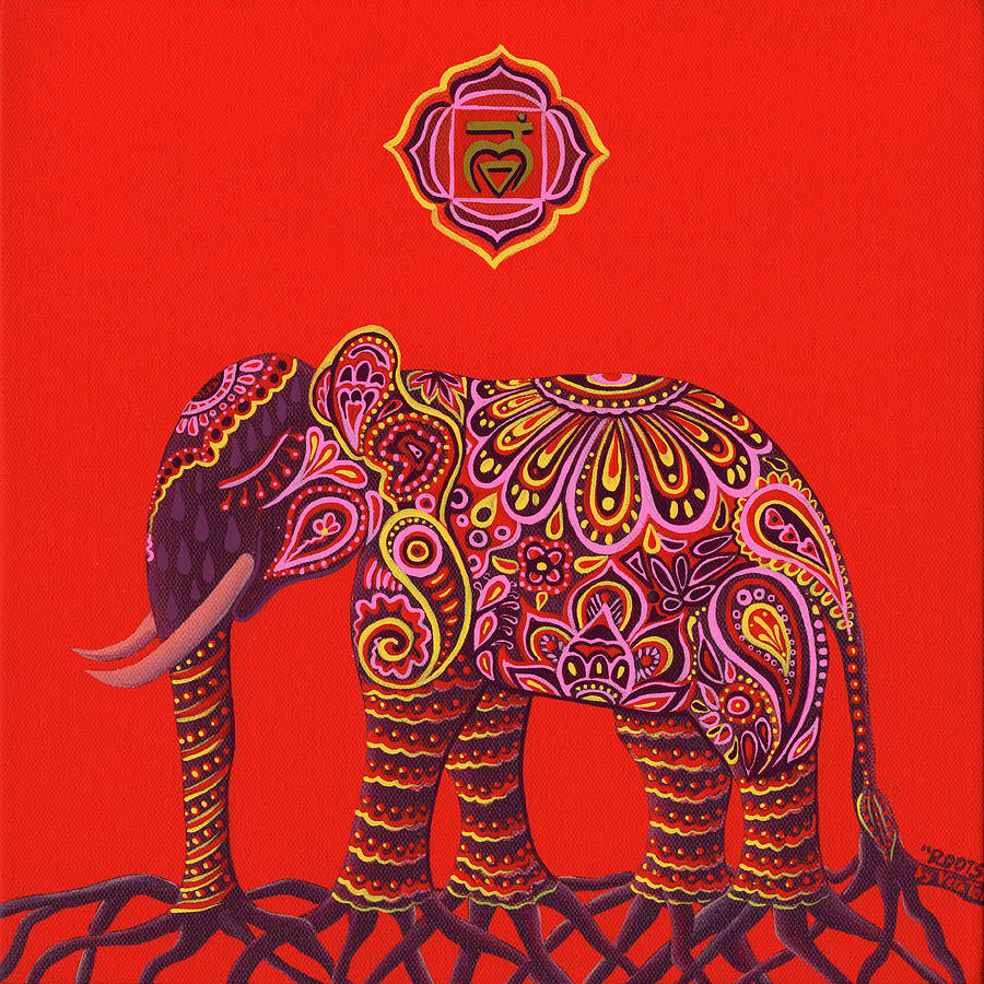 Yoga Painting - Root chakra by Vera Tour