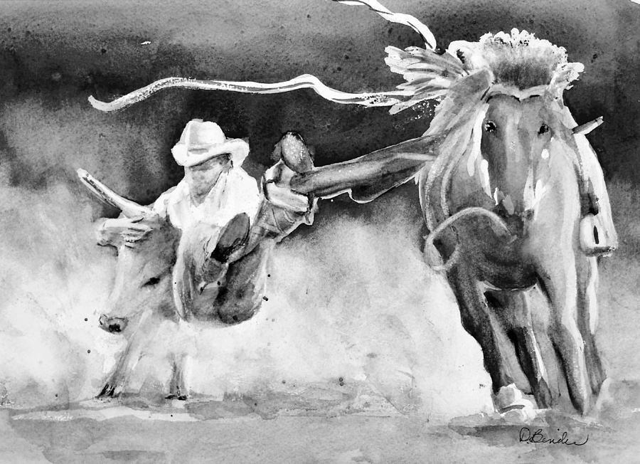 Cowboy Painting - Ropeem Ride em  BW by Diane Binder