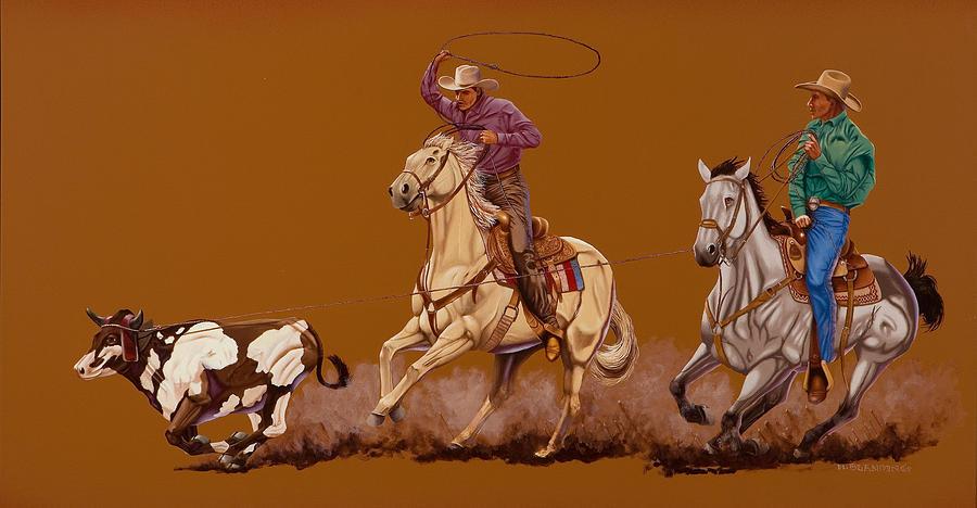 Header Painting - Ropin Pardners by Hugh Blanding