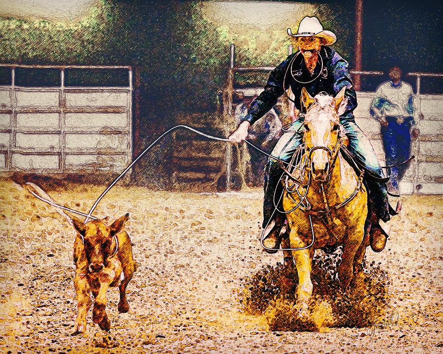 Equestrian Digital Art - Roping Horse by Janice OConnor