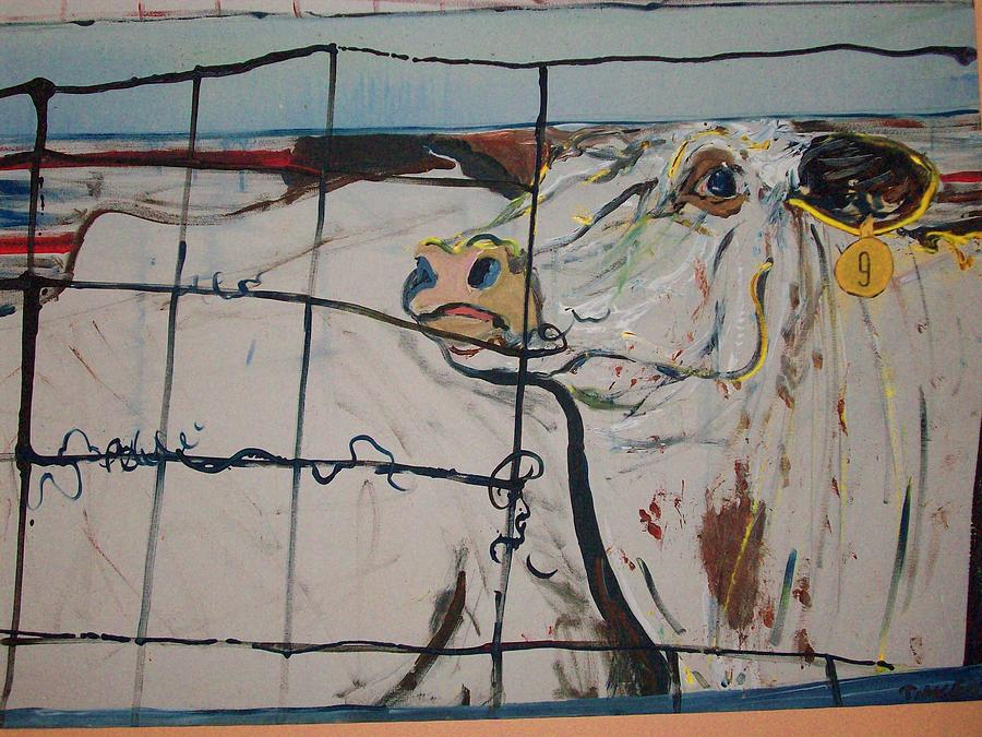 Cows Painting - Roping Steer Number Nine by Todd Timler