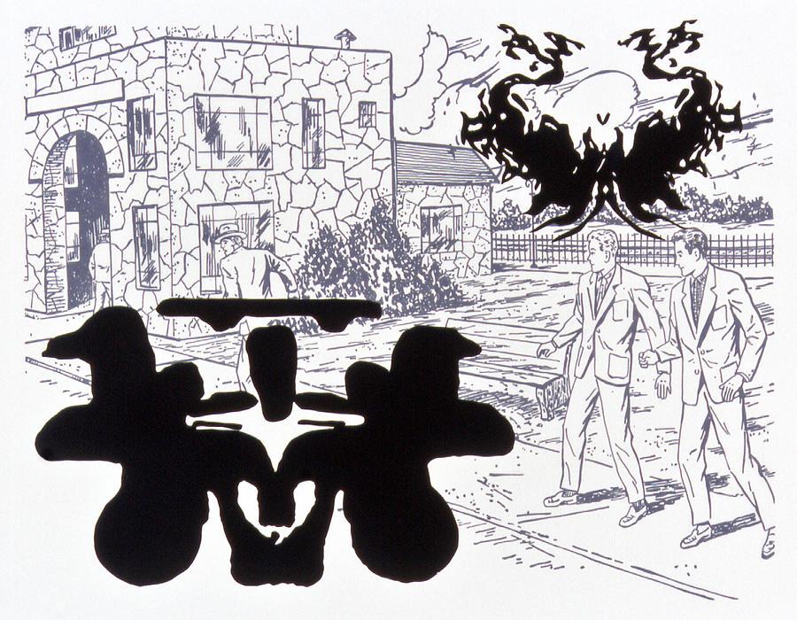 Karl Drawing - Rorschach 3 Angel Of Death by Karl Frey