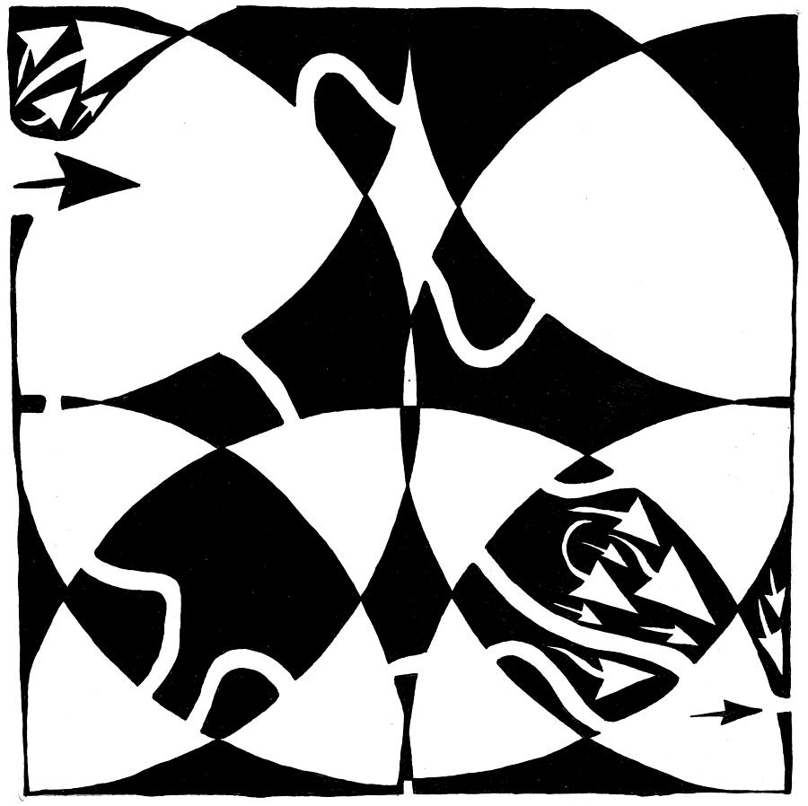 Rorschach Drawing - Rorschach Maze by Yonatan Frimer Maze Artist