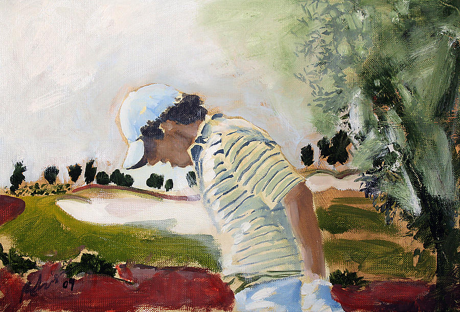 Rory Mcilroy Painting - Rory Mcilroy 2009 Oil Sketch by Mark Robinson