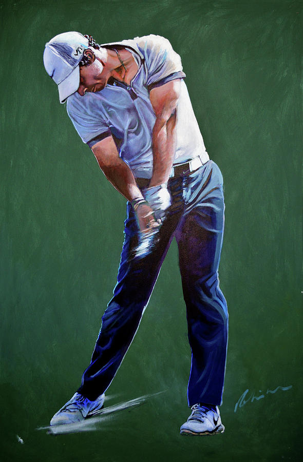 Golf Painting - Rory Mcilroy Swing by Mark Robinson