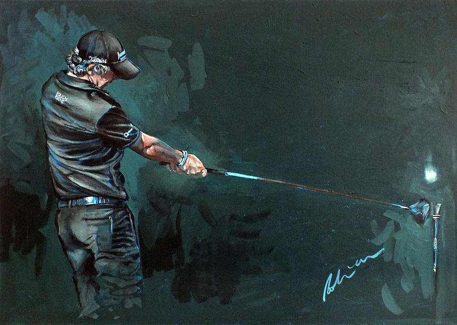 Rory Mcilroy Painting - Rory Mcilroy Trick Shot 2010 by Mark Robinson