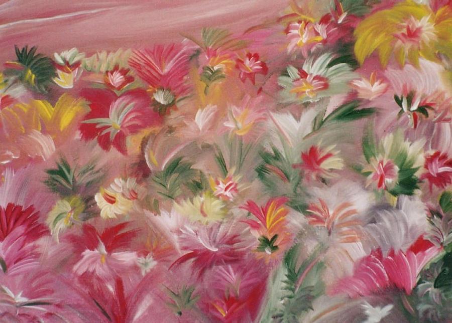 Flowers Painting - Rosa Bluetenmeer by Michael Puya