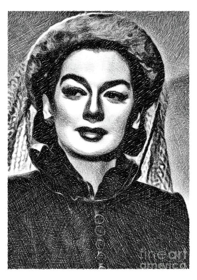 Rosalind Russell, Vintage Actress By Js Drawing
