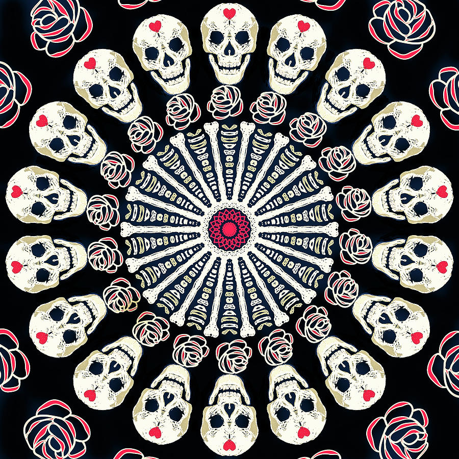 Rose and Bone Mandala of the Heart by Ronda Broatch