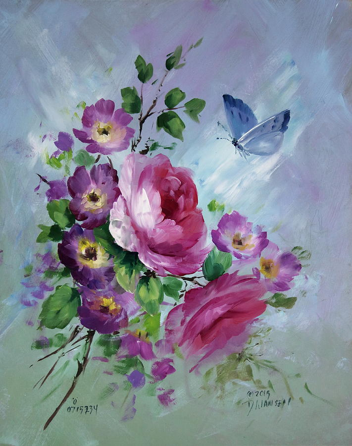 Ships Painting - Rose And Butterfly by David Jansen