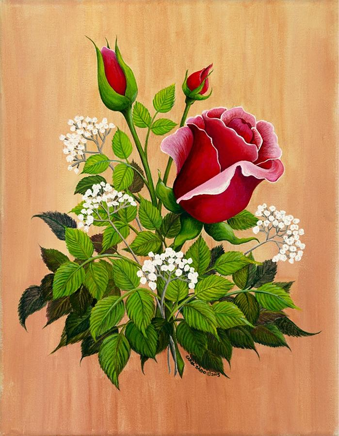 Gold Frame Painting - Rose Bouquet by Carol Sabo