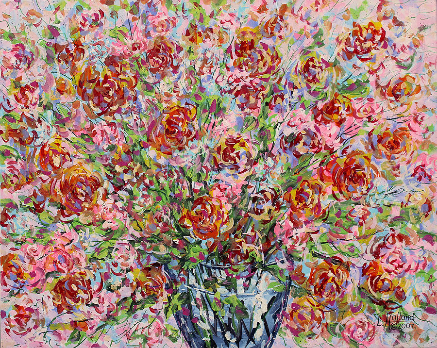 Flowers Painting - Rose Bouquet In Glass Vase by Leonard Holland