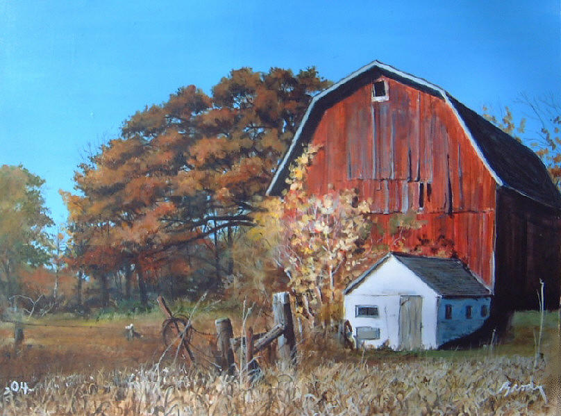 Barn Painting - Rose Center Barn by William Brody