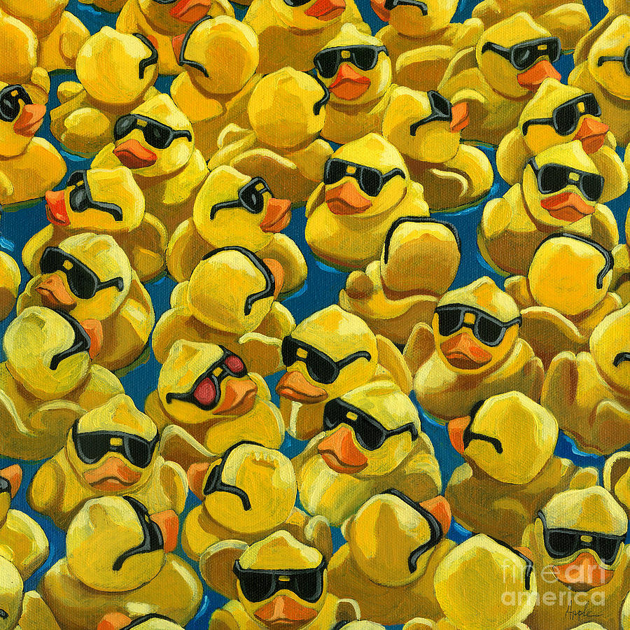 Rubber Duck Painting - Rose Colored Glasses by Linda Apple
