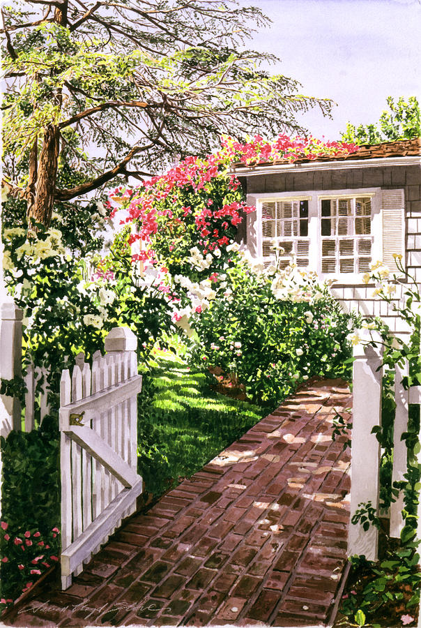 Gardens Painting - Rose Cottage Gate by David Lloyd Glover