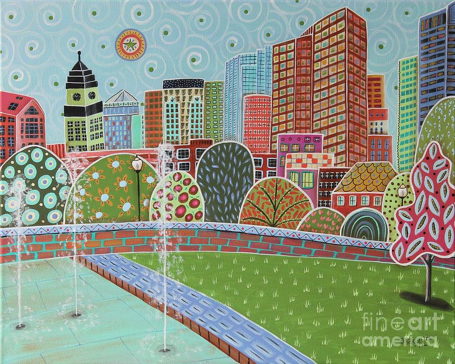 Cityscape Painting - Rose Fitzgerald Kennedy Greenway Boston by Karla Gerard