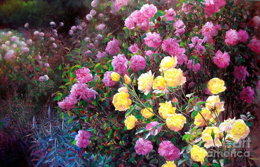 Garden Painting - Rose Garden 10 by Bo Li