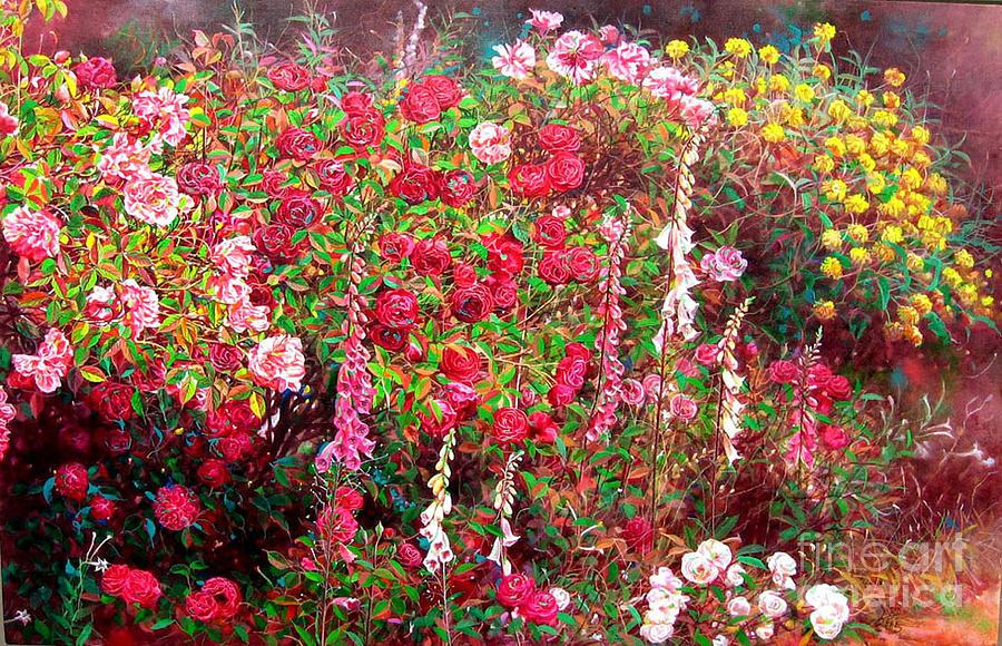 Flower Painting - Rose Garden 3 by Bo Li