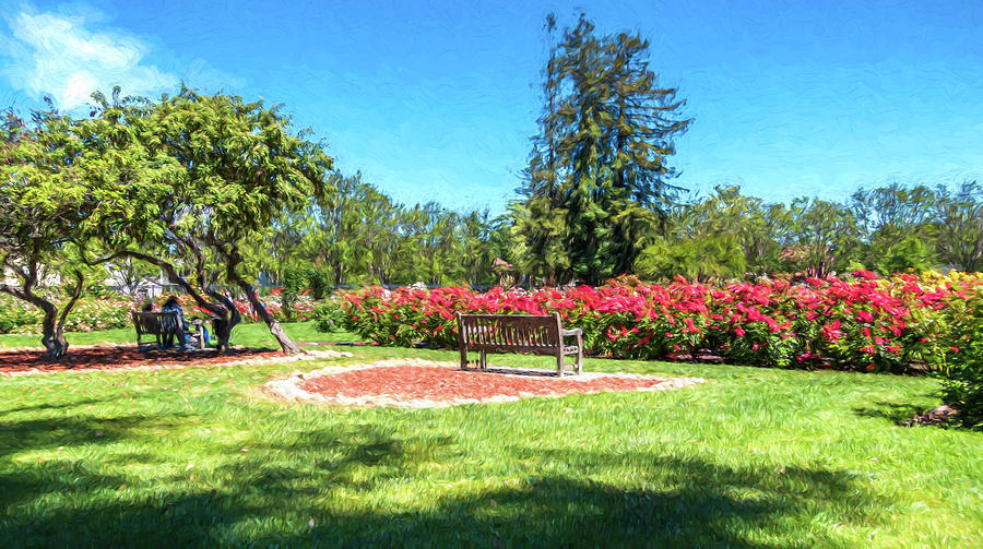 California Digital Art - Rose Garden Benches Impressionist Digital Painting by Randy Herring