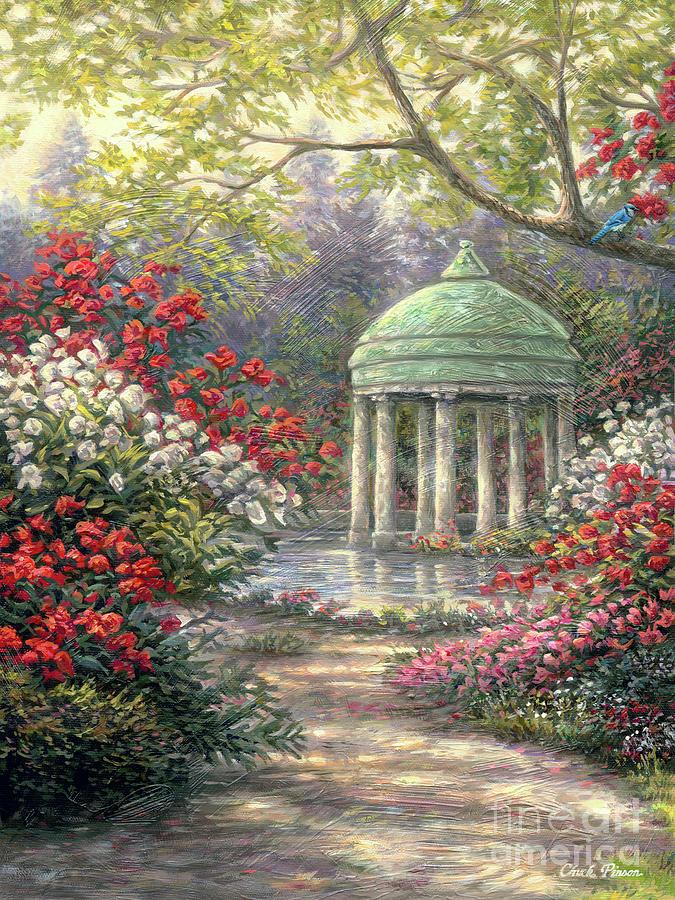 Vertical Painting - Rose Garden Gazebo by Chuck Pinson