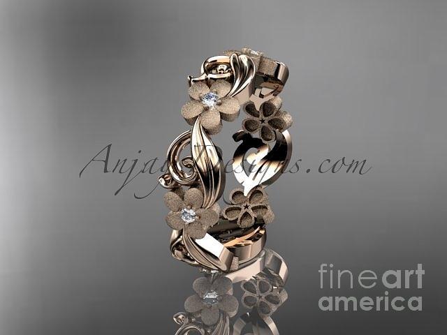 rose gold diamond flower wedding ring engagement ring wedding band