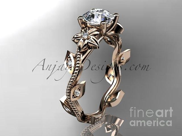 rose gold diamond leaf and vine wedding ring engagement