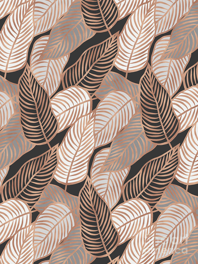 Rose Gold Jungle Leaves by EMANUELA CARRATONI
