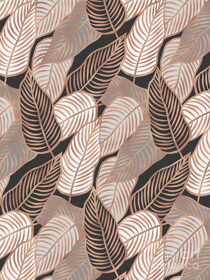 Rose Gold Jungle Leaves by EMANUELA CARRATONI